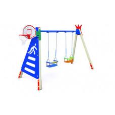 КАЧ-1.17 Рама для подвесных качелей с баскетбольным кольцом и сиденье резиновое со спинкой К-1.01